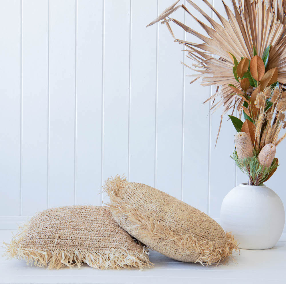 Raffia Cushion Cover Square With Fringe – Natural