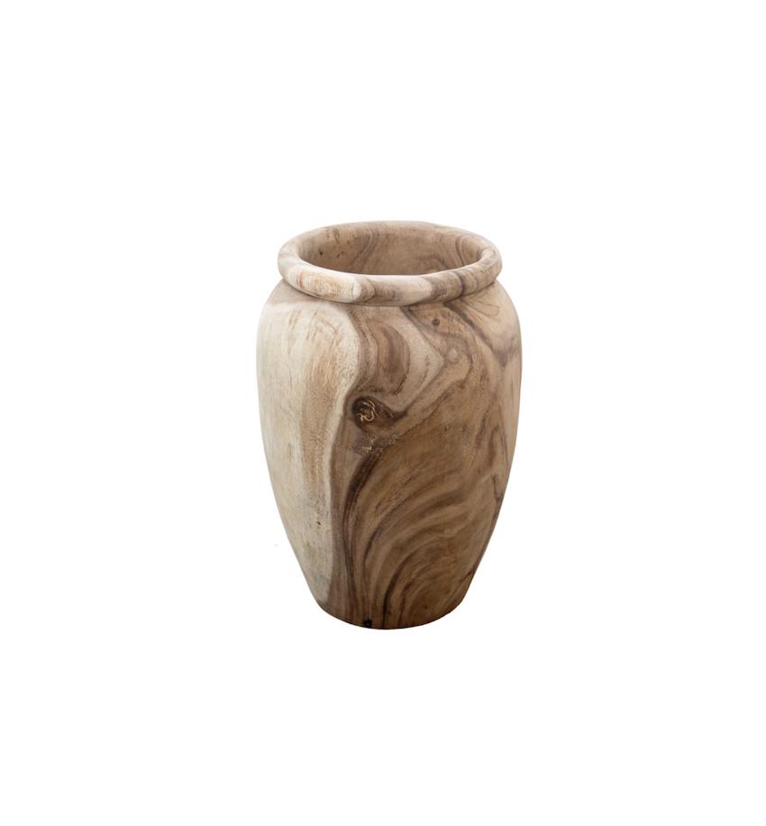 Batik Wooden Floor Vessel Medium